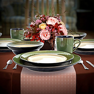 Elama Elama Grand Jade 16 Piece Luxurious Stoneware Dinnerware with Complete Setting for 4, 16pc, , rollover