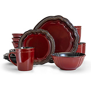 Elama Elama Regency 16 Piece Luxurious Stoneware Dinnerware with Complete Setting for 4, 16pc, , large