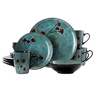 Elama Elama Floral Accents 16 Piece Dinnerware Set in Blue, , large