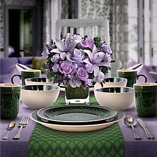 Elama Elama Blue Jade 16 Piece Luxurious Stoneware Dinnerware with Complete Setting for 4, , rollover