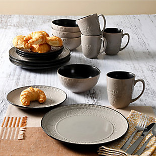 Gibson Elite Milanto 16 Piece Stoneware Dinnerware Set in Gray, , rollover
