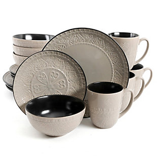 Gibson Elite Milanto 16 Piece Stoneware Dinnerware Set in Gray, , large