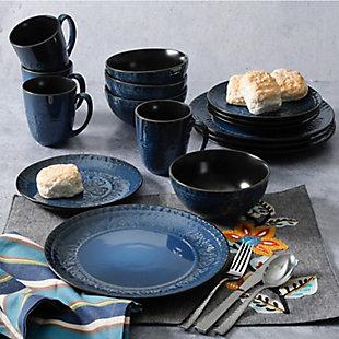 Gibson Elite Milanto 16 Piece Stoneware Dinnerware Set in Blue, , rollover