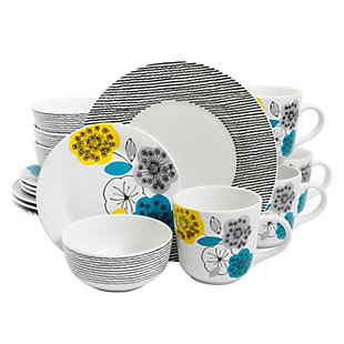 Gibson Home Marigold 16 Piece Fine Ceramic Dinnerware Set, Service for 4, , large