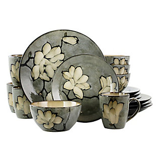 Gibson Elite Dakari 16 Piece Stoneware Dinnerware Set in Gray, Service for 4, , large