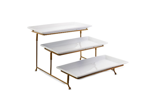 Gibson Elite Gracious Dining 3 Tiered Rectangle Porcelain Plate Set with Gold Metal Stand, , large