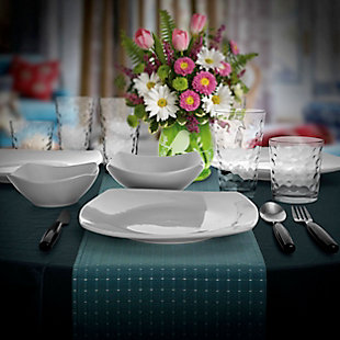Gibson Home 48 Piece Porcelain Dinnerware Combo Set in White with Flatware and Drinkware, , rollover