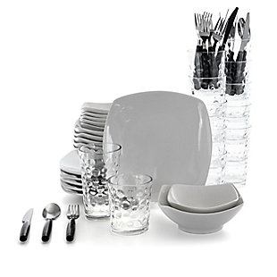 Gibson Home 48 Piece Porcelain Dinnerware Combo Set in White with Flatware and Drinkware, , large