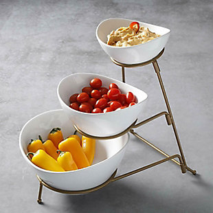 Gibson Elite 3 Tiered Oval Chip And Dip Set with Metal Rack, Three Tier Dessert And Snack Server (Gold), , rollover