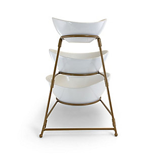 Gibson Elite 3 Tiered Oval Chip And Dip Set with Metal Rack, Three Tier Dessert And Snack Server (Gold), , large