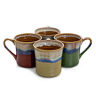 Gibson Home 4 Piece Cascade Drip 17 Ounce Stoneware Mug Set in Assorted Colors, , large