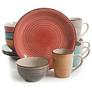 Gibson Home Color Vibes Pastel 12 Piece Mix and Match Stoneware Dinnerware Setin Assorted Colors, , large