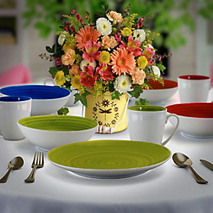 Gibson Crenshaw 12 Piece Round Ceramic Dinnerware Set in Assorted Colors, Service for 4, , rollover