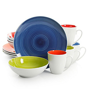Gibson Crenshaw 12 Piece Round Ceramic Dinnerware Set in Assorted Colors, Service for 4, , large