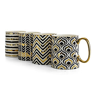 Gibson Home Gold Geo 14.8 oz Cup, Ceramic 4 Assorted Metallic Geometric Designs, , large