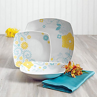 Gibson Home Summerfield 12 Piece Soft Square Ceramic Dinnerware Set in Floral Design, , rollover