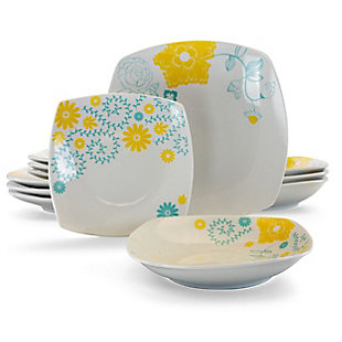 Gibson Home Summerfield 12 Piece Soft Square Ceramic Dinnerware Set in Floral Design, , large
