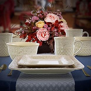 Elama Elama Ivory Lotus 16 Piece Square Dinnerware Set, White, rollover