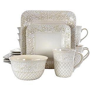 Elama Elama Ivory Lotus 16 Piece Square Dinnerware Set, White, large