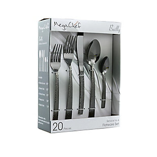 Megachef Baily 20 Piece Flatware Utensil Set, Stainless Steel Silverware Metal Service for 4 in Black, Black/Gray, large