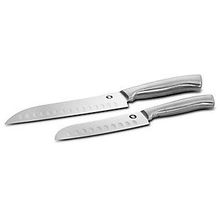 Ww Healthy Kitchen 2 Piece Hollow Edge Stainless Steel Santoku Cutlery Knife Set, , large