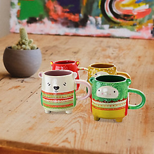 Gibson Home Buddies 4 Piece 18.4 Ounce Stoneware Figural Mug Set in Assorted Designs, , rollover