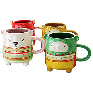 Gibson Home Buddies 4 Piece 18.4 Ounce Stoneware Figural Mug Set in Assorted Designs, , large