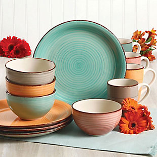 Gibson Home Color Vibes Pastel 12 Piece Stoneware Dinnerware Set in Assorted Colors, , rollover