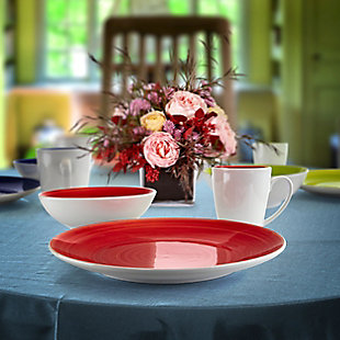 Gibson Home Crenshaw 12 Piece Ceramic Dinnerware Set in Assorted Colors, , rollover