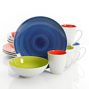 Gibson Home Crenshaw 12 Piece Ceramic Dinnerware Set in Assorted Colors, , large
