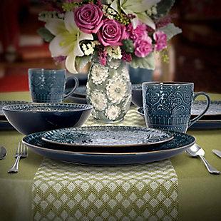 Elama Elama Sea Foam Mozaic 16 Piece Luxurious Stoneware Dinnerware with Complete Setting for 4, Blue, rollover