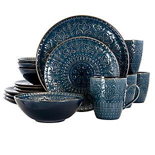 Elama Elama Sea Foam Mozaic 16 Piece Luxurious Stoneware Dinnerware with Complete Setting for 4, Blue, large