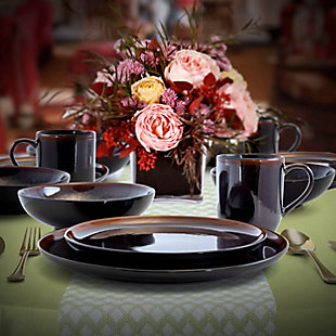 Elama Elama Midnight Beach 16 Piece Dinnerware Set in Metallic Black, , rollover