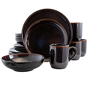 Elama Elama Midnight Beach 16 Piece Dinnerware Set in Metallic Black, , large
