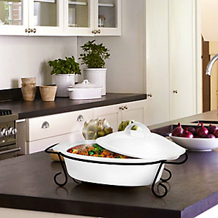 Gibson Home Gracious Dining 2 Piece Oval Stoneware Bakeware with Lid and Metal Rack, , rollover