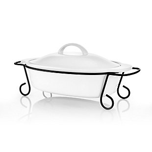 Gibson Home Gracious Dining 2 Piece Oval Stoneware Bakeware with Lid and Metal Rack, , large
