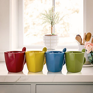 Gibson Home Primary Colors 8 Piece Stoneware Soft Square Cup and Spoon Set with Assorted Colors, , rollover