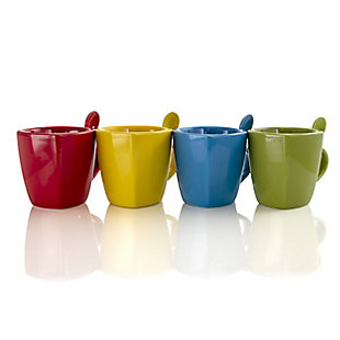Gibson Home Primary Colors 8 Piece Stoneware Soft Square Cup and Spoon Set with Assorted Colors, , large