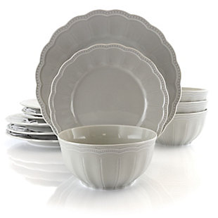 Gibson 12 Piece Fine Ceramic Dinnerware Set in Taupe, Taupe, large