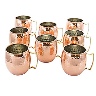 Gibson Elite Mule Mixer 8 Piece 18 Ounce Hammered Brass Copper Cup Set, , large