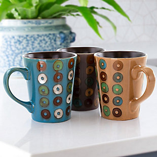 Mr. Coffee Coupa Cafe 3 Piece 13 Ounce Round Stoneware Mug Set in 3 Assorted Designs, , rollover