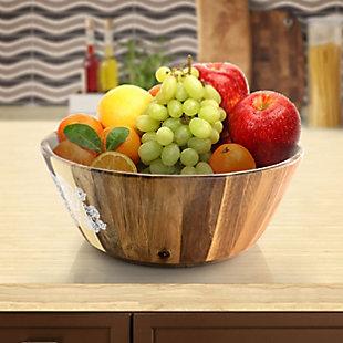 Studio California Natural Decal 12 Inch Wood Salad Serving Bowl, , rollover