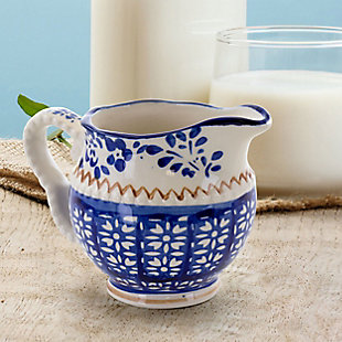 Meritage Botany 5.5 Inch 10 Ounce Stoneware Creamer in Deep Blue, , rollover