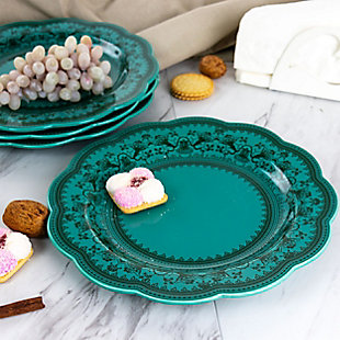 Gibson Elite Medallion 4 Piece 10.6 Inch Stoneware Scalloped Dinner Plate Set in Turquoise, , rollover
