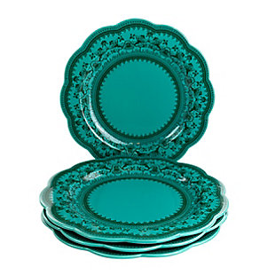 Gibson Elite Medallion 4 Piece 10.6 Inch Stoneware Scalloped Dinner Plate Set in Turquoise, , large