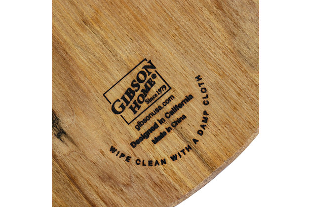 Gibson Home Kingswood 17 Inch Round Serving Board with Paddle Handle, , large