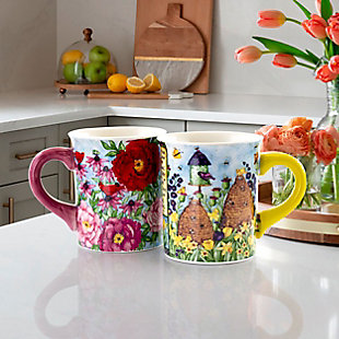 Gibson Home Forest Poppy 4 Piece 18 Ounce Round Stoneware Mug Set in Assorted Floral Designs, , rollover