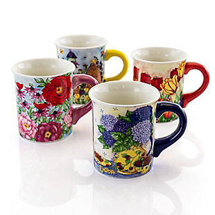 Gibson Home Forest Poppy 4 Piece 18 Ounce Round Stoneware Mug Set in Assorted Floral Designs, , large