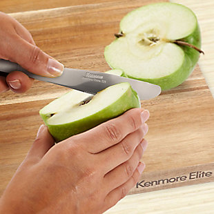 Kenmore Elite Kenosha 29 Inch Acacia Wood Cutting Board with Groove Handles, , rollover