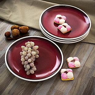Studio California Cobalt Bay 4 Piece 9 Inch Melamine Round Dessert Plate Set in Red, , rollover